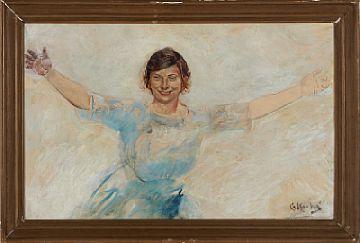 CHRISTIAN KROHG VESTRE AKER 1852 - OSLO 1925  Kvinne i hvit kjole Olje på lerret, 70x45 cm Signert nede til høyre: C Krohg