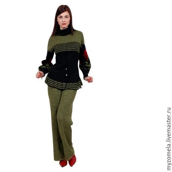 Купить Вязаный брючный костюм - комбинированный, костюм женский, костюм, вязаные брюки, Костюм вязаный
