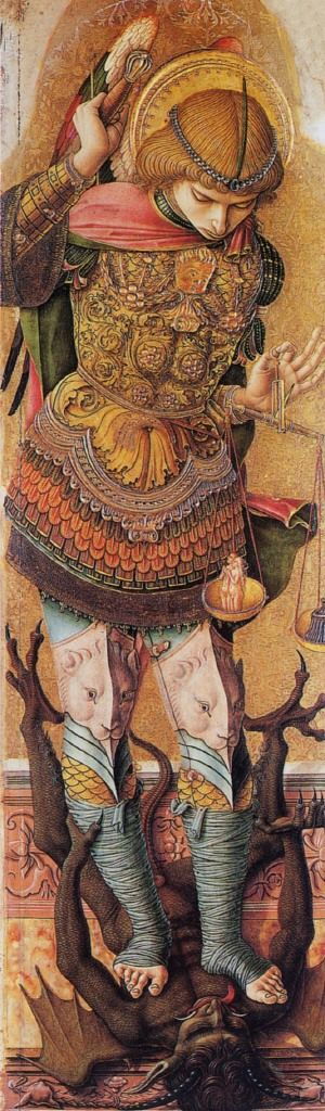 St Michael, c.1476, by Carlo Crivelli; the archangel is shown crushing Satan, with his symbolic attributes of a weapon, armour and the weighing scales used at the Last Judgement.