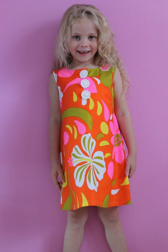 Vibrant Retro Print Girl's Mini Shift Dress by HullabalooKids, $35.00