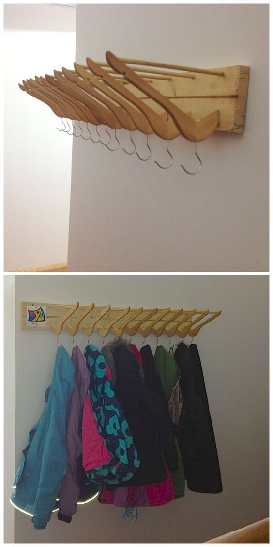 Recycled Coat Hanger Coat Rack organization storage wood working decoration upcy… #WoodWorking