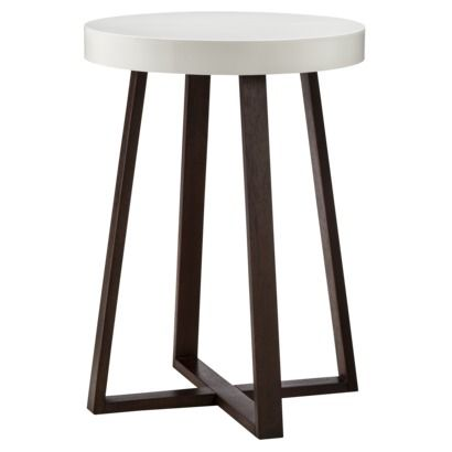 Threshold accent table triangle with white top espresso for Nursery side table ideas