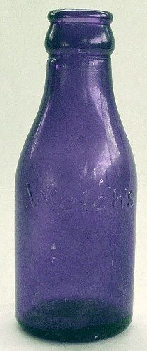 Vintage Welch's Grape Drink Bottles | Small antique WELCH'S Jr. GRAPE JUICE bottle in a vibrant deep purple ...