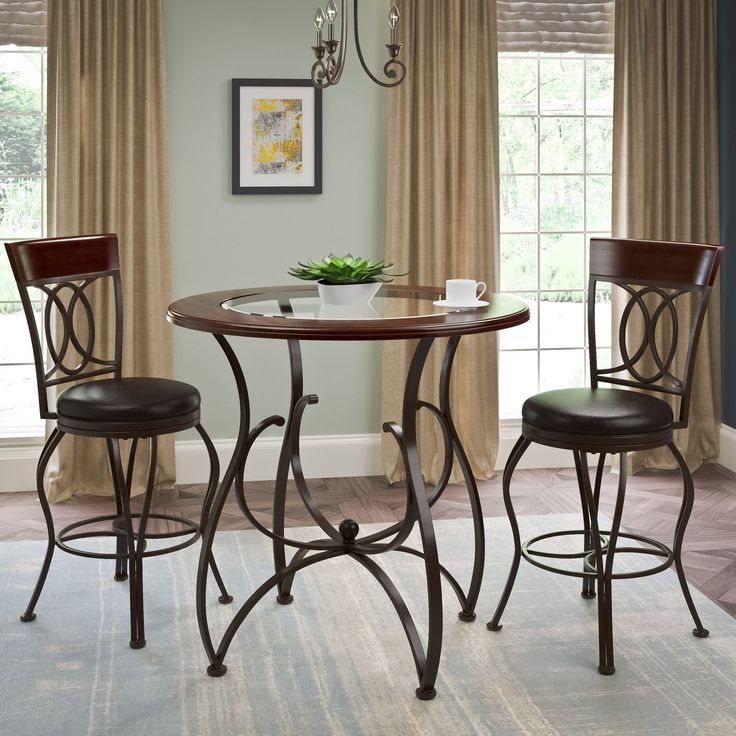CorLiving Jericho Counter Height Matte Brown 3 Piece Barstool And Bistro Table Set 3pc