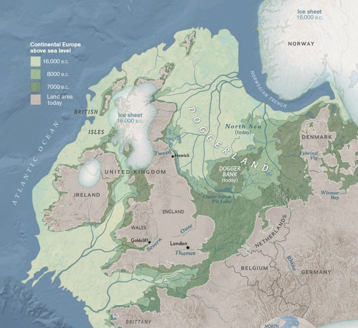 Middle East Map National Geographic%0A Great map of Doggerland  a landmass that is now northern Europe and the  North Sea  People once lived here  before sea level rose  From National  Geographic