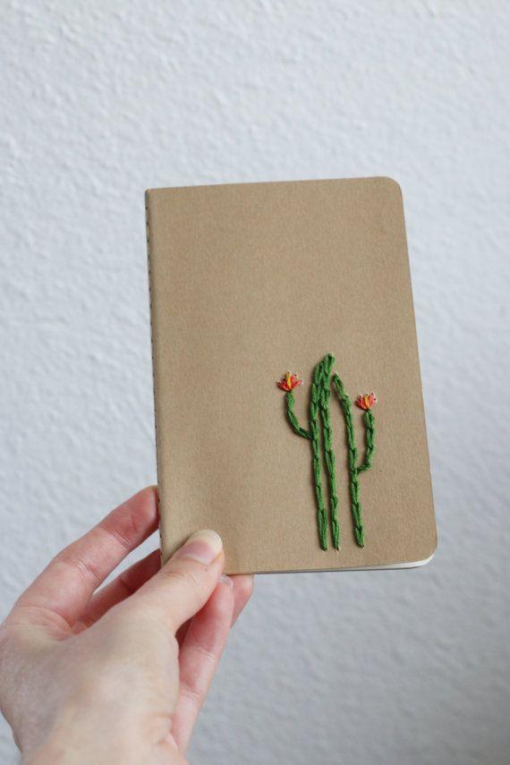 Cuaderno de bolsillo bordado moleskine cactus-mano por PoppyandFern