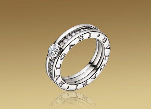 bzero1 ring in 18 kt white gold with round brilliant cut diamond and pav