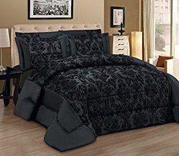 Lisa noir Lot de 3Couvre-lit moderne Flock damassé Luxe tröster Parure de contient 1x Couvre-lit/tröster & 2taies d'oreiller qualité x Parure de lit, noir, Double 220 x 240