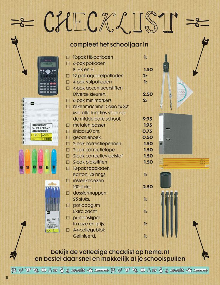 Als je in de winkel op schoolspullenjacht gaat, neem dan deze handige checklist mee. Hierop kun je precies aanvinken wat je al hebt.