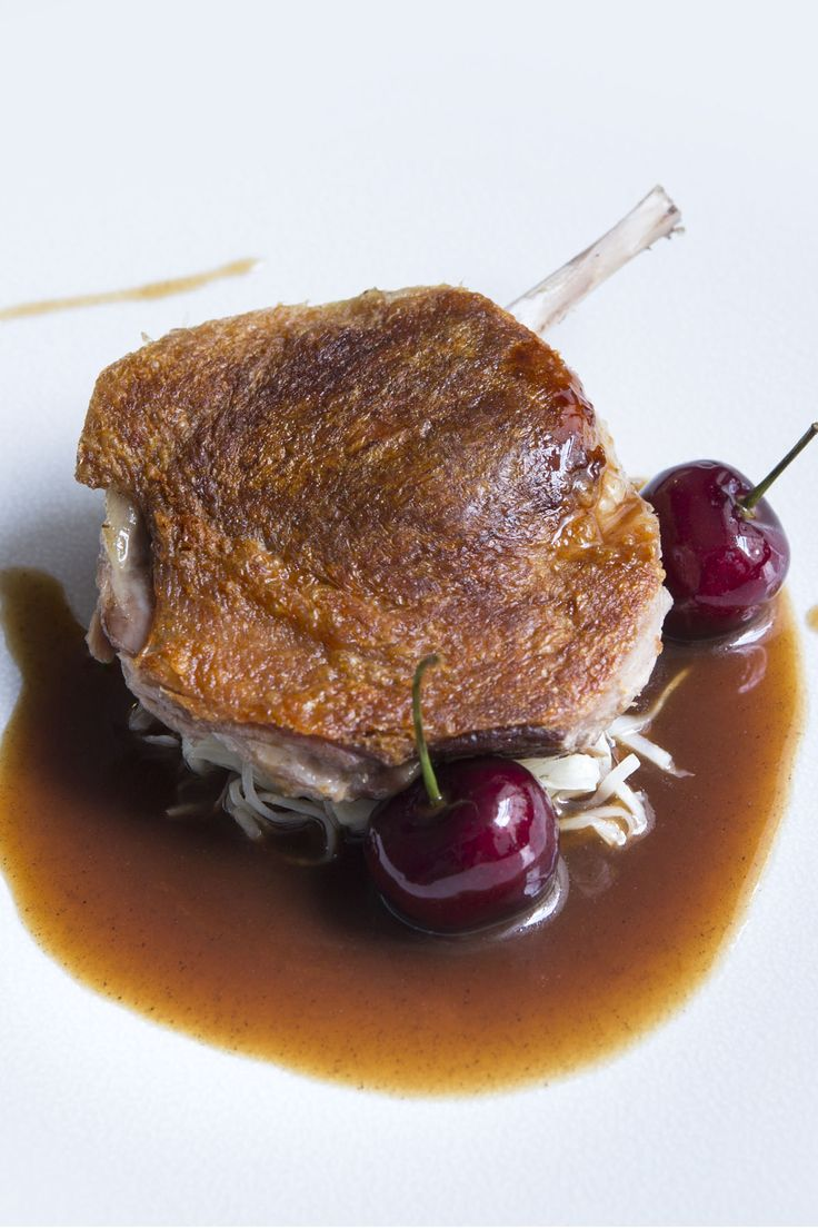 In this delicious Agnar Sverrisson recipe, duck legs are cooked sous vide to ensure perfectly cooked, tender meat. To contrast with the rich flavour of the duck, the chef adds sweet and sour celeriac choucroute, bulgur wheat and fresh cherries – a combination that is popular on the chef's 28º– 50º Wine Workshop and Kitchen menu.