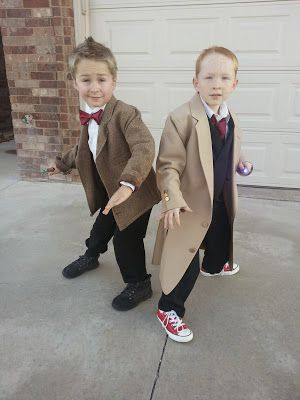 My boys feel in love with Doctor Who this year and begged to be them for Halloween. So I made these costumes out of 3 men's blazers from a second hand store and altered them to fit their little bodies. They were absolutely THRILLED!