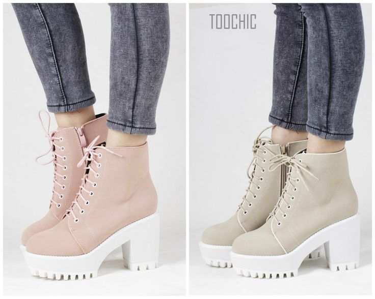 Pastel Chunky Sole Lace Up Boots. Just at: $69.00 Order Now: http://bit.ly/1FIhKCi
