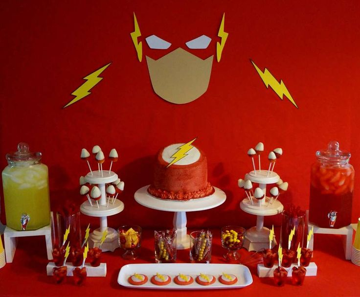 "Make sure you don't miss this fabulous Superhero ""The Flash"" Birthday Party! Love the backdrop and dessert table! See more party ideas and share yours at CatchMyParty.com"