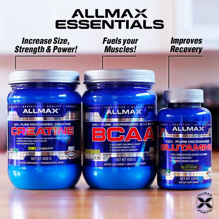 #ALLMAX Essential must-haves! Having all or one of these products in your #ALLMAXStack can bring about a significant difference to your physique.  #Creatine can lead to a gain in lean muscle mass, improve workout performance, and significant enhancement of strength. #BCAA powder in a 2:1:1 ratio. BCAAs are unique in that they are taken up by the muscles directly and are critical to building quality muscle fast.  #Glutamine plays a role in the metabolism of protein and support recovery.