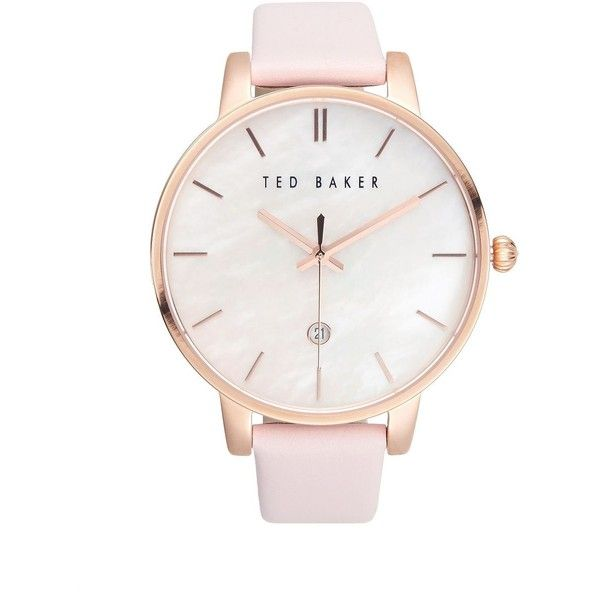 Ted Baker London Classic Stainless Steel and Leather Watch ($165) ❤ liked on Polyvore featuring jewelry, watches, pink, pink leather watches, stainless steel jewelry, bezel watches, polish jewelry and stainless steel jewellery