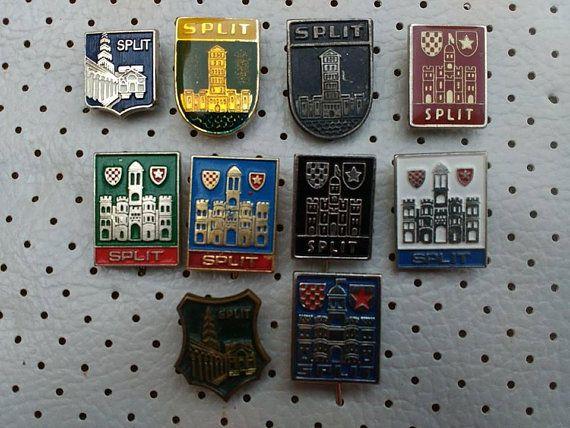 100077d7188b Split Croatia Dalmatia Vintage Badges Split Hrvatska City Crests Souvenirs  Croatia Coat of Arms Pins Split 1970s