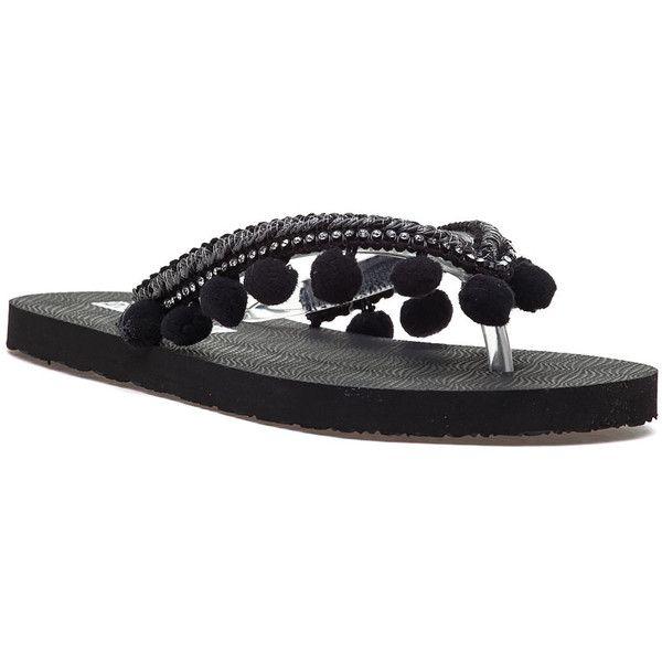 275 CENTRAL Hcej Pom Black Flip Flop (115 BRL) ❤ liked on Polyvore featuring shoes, sandals, flip flops, black, rubber sole sandals, summer flip flops, embellished sandals, pom pom shoes and black pom pom sandals