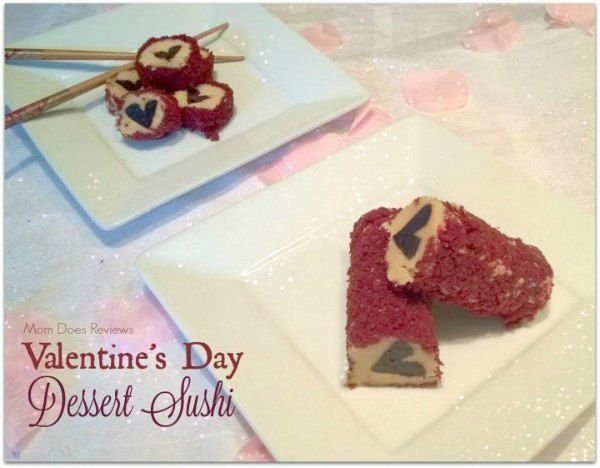 Valentine's Day Dessert Sushi featured on Having Fun Saving & Cooking.