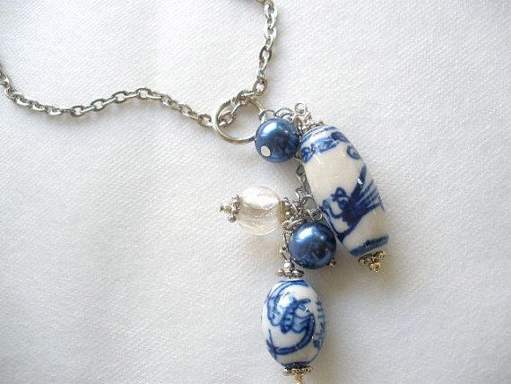 The Crane Porcelain and Pearls Cluster Necklace by bluewhitewear. Buy now $22.