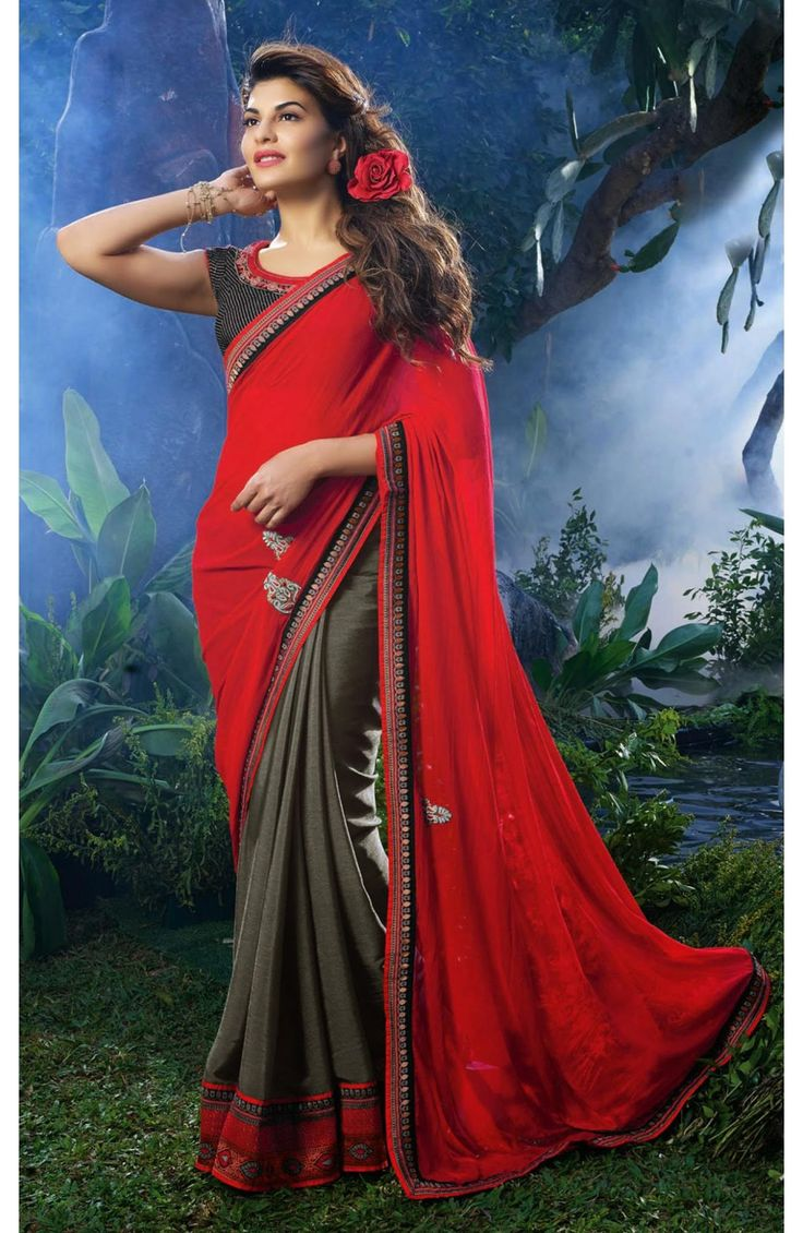 Leave a mark wearing this vibrant red and grey georgette and chiffon half and half saree. The pallu is red georgette with zari paths. #Indian #sarees #sareesonline #onlineshopping #fashion #womenfashion