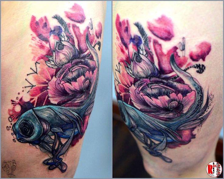 Redberry Tattoo Studio Wrocław #tattoo #inked #ink #studio #wroclaw #warszawa #tatuaz #dresden #redberry #katowice #amazingtattoo #dzolama #redberrytattoostudio #amaizingtattoo #poland #berlin #sketch #delicate #kwiaty #flowers #aquarel #akwarela #fish #ryba #rybka