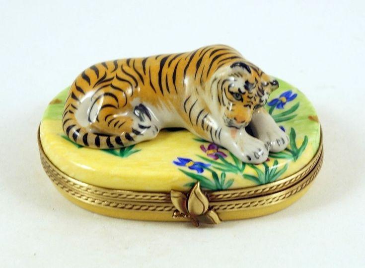 NEW FRENCH LIMOGES TRINKET BOX ENDANGERED TIGER BIG CAT ANIMAL IN IRIS FIELD #LIMOGESHINGEDBOX