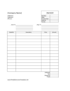 A printable invoice for commercial purposes. It has room for detailed shipping and purchase information such as prices and quantity. It is designed in portrait orientation and has lines. It is available in PDF, DOC, or XLS (spreadsheet) format. Free to download and print