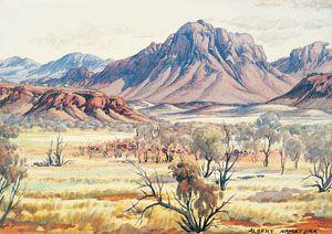 Albert Namatjira Mount Sonder, MacDonnell Ranges c.1957-59 watercolour and pencil on paper National Gallery of Australia