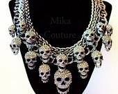 Teschio di Cristallo Bling Charm Necklace Gunmetal