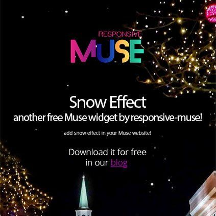 Try our free Muse Christmas widget! As a small anticipated Xmas present for all Muse users, we have published this Muse snow widget that anyone can download for free. Using this snow widget is so easy. You only need to drop it into Adobe Muse workspace and adapt it to browser width for better results.