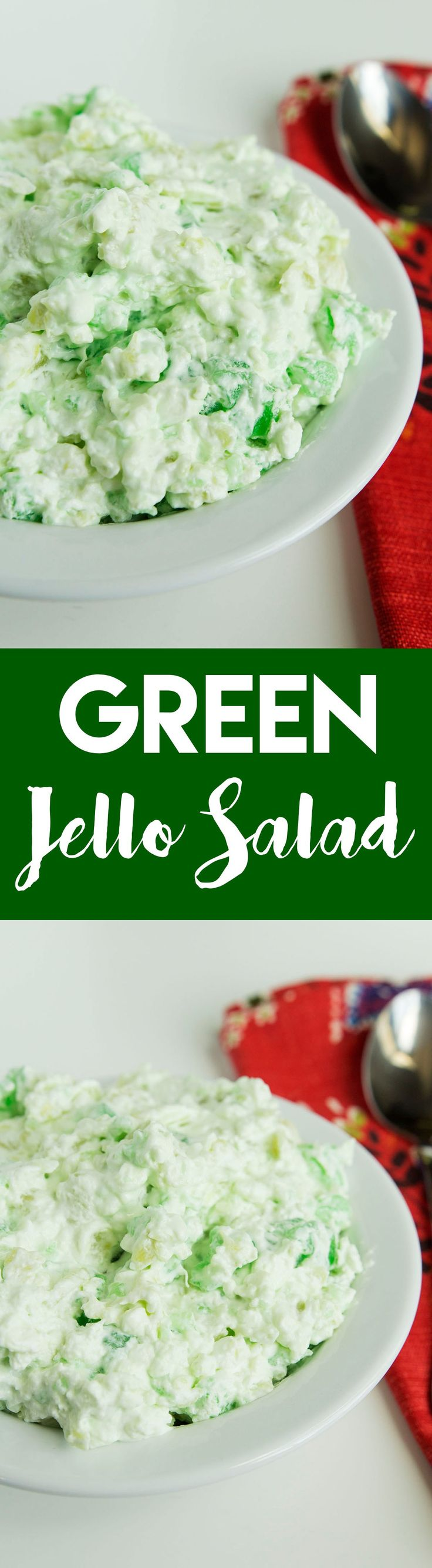 this green jello salad may be a little non-traditional, but it's a great side dish that's perfectly at home at a backyard barbecue or on your holiday table | goldenbrownanddelicious.com