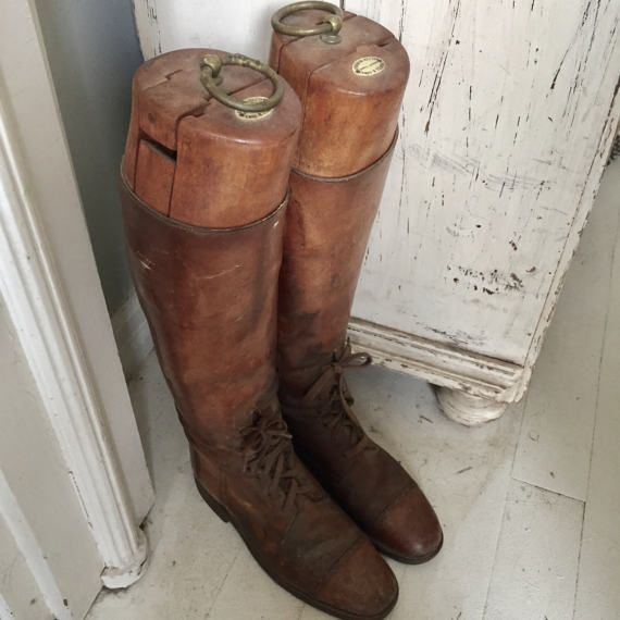 Antique Melton Mowbray Riding Boots All Leather Wood