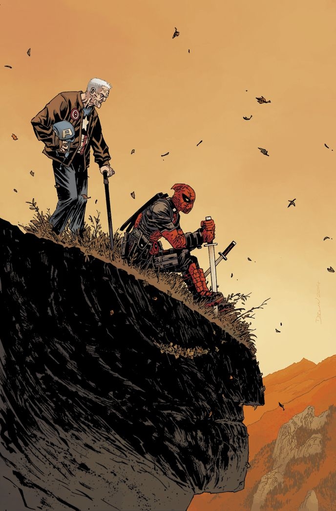 variant cover for Death Of Wolverine: Captain America & Deadpool (2014). Art by Declan Shalvey, colors by Jordie Bellaire.