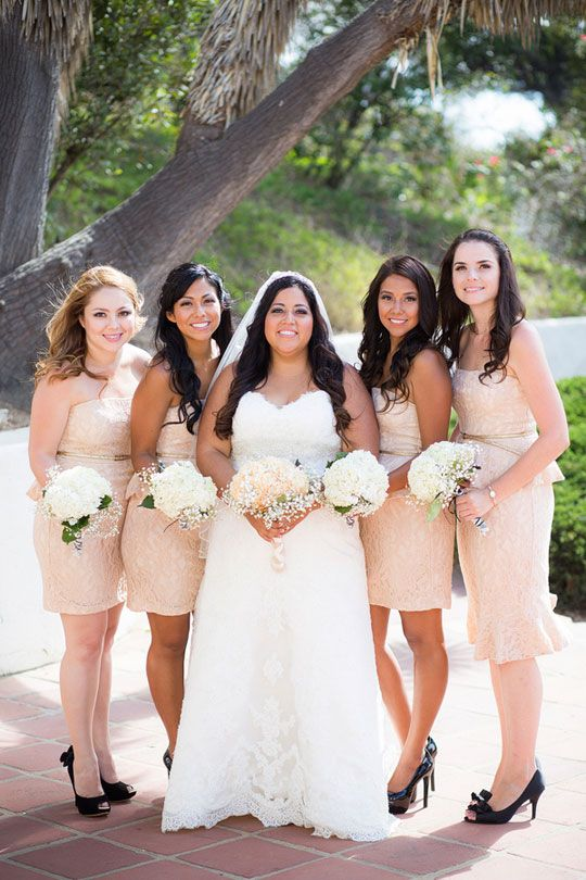 Champagne colored bridesmaids. Captured By: Heidi O Photo --- http://heidiophoto.com/