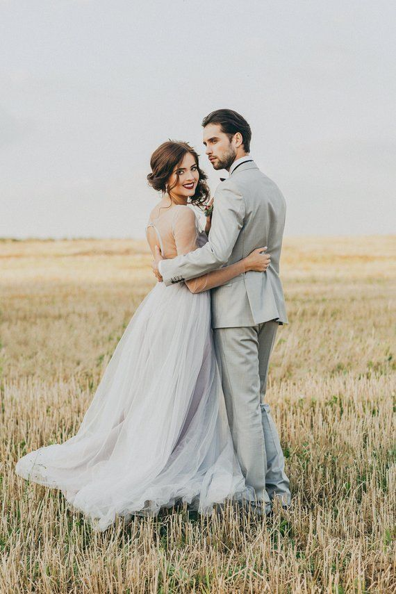 Gray tulle wedding dress, open back bridal gown, bohemian alternative wedding dress, simple evening or prom or ball dress, delicate gown