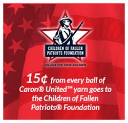 Beautiful free knit/crochet patterns by Caron® United™ yarn help support children of fallen patriots. Visit Caron stores or online to learn more.