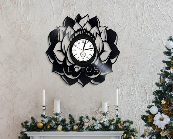 Lotus Wall Clock Vinyl Nature Clock Wall Lotus Flower Gift Vinyl
