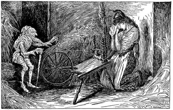 """""""What will you give me to do it for you?"""" Said the Hobgoblin.' Illustration by Louis Rhead from """"Grimm's Fairy Tales - Stories and Tales of Elves, Goblins and Fairies"""", 1917. #Rumpelstiltskin #black and white"""