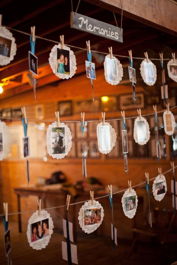 I wonder how hard it would be to put something like this up above the table with the seating chart and guest book, etc? I like the idea of doing photos but frames get pricey real quick!