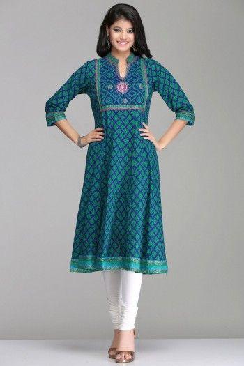 Enigmatic Blue & Sea Green Anarkali Cotton Kurta With Farida Gupta