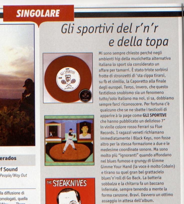 """#recensione del 7"""" de @Gli_Sportivi  su Rumore  http://www.facebook.com/glisportivi.fanpage  http://www.fluerecords.com/  #glisportivi"""
