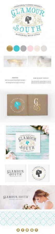 glamour south, logo design, cameo, gold, turquoise, aqua, palette, color, shabby chic, elegant, boutique, florist, fashion