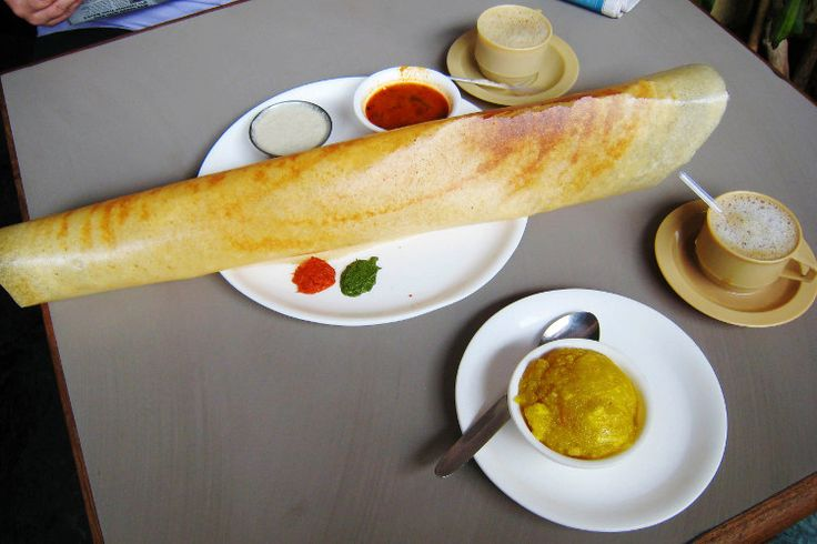 Supersized paper dosa and chai. Image by  Charles Haynes / CC BY-SA 2.0.