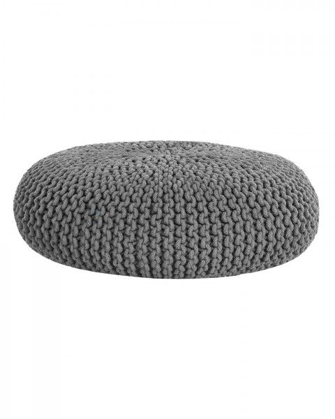 Dark Grey Knitted Cotton Large Round Pouffe Footstool 70 x 23 cm