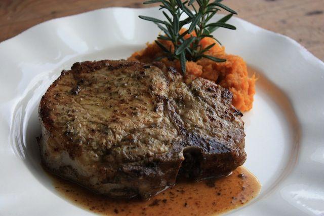 Rosemary-Garlic Pork Chops with Dijon Pan Gravy