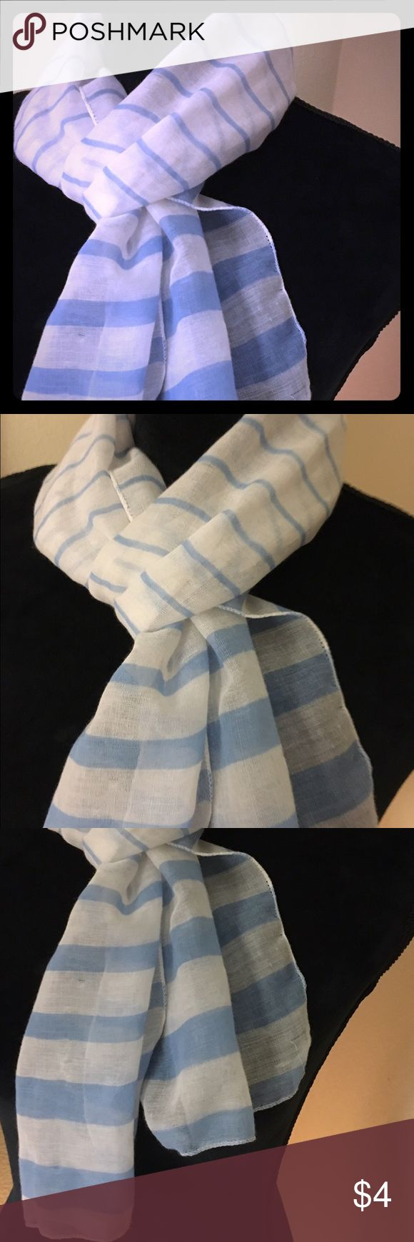Pretty light blue and white scarf! Great buy 🦋 Pretty light blue and white striped scarf. Thin stripes to larger stripes at the bottom. 🦋 Accessories Scarves & Wraps