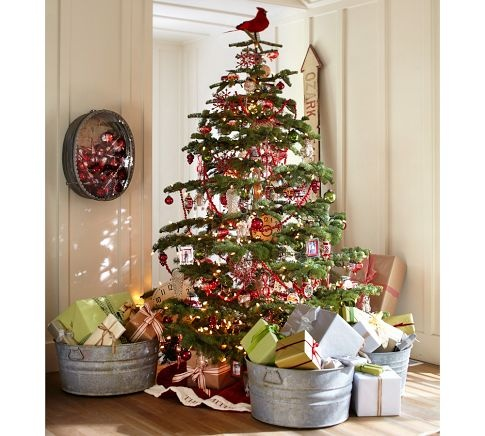 Pottery Barn Christmas treeHoliday, Trees Toppers, Buckets, Wash Tubs, Country Christmas, Christmas Decor, Rustic Christmas, Christmas Trees, Pottery Barns
