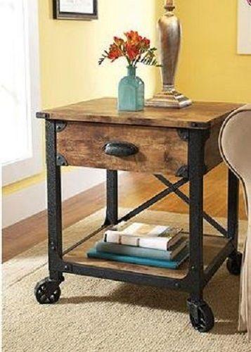 End Table Nightstand Rustic Wood Industrial Metal Casters Storage