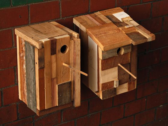 funky little recycled wood birdhouses