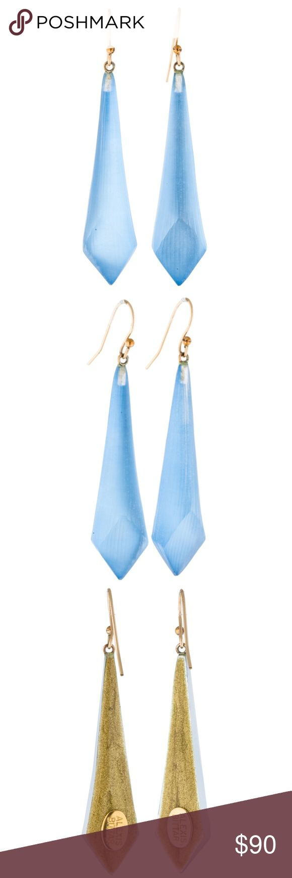 """Alexis Bittar Lucite Blue Drop Earrings These Alexis Bittar lucite drop earrings are blue with gold-tone french hook closures and gold-tone backing for lucite drop. Reflects light nicely and is great for any outfit!  Approximate Measurements:  --Full Height (drop from earlobe) = 2.50""""  --Blue Lucite Height = 2.00"""" --Length (at thickest part near bottom) = 0.50"""" --Width (at thickest part near bottom) = 0.25"""" Alexis Bittar Jewelry Earrings"""